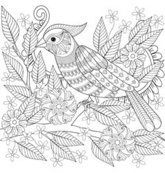 Hand drawn entangle bird sitting on blooming tree vector