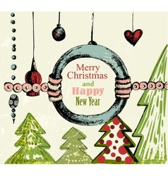 Handdrawn retro Christmas background vector image