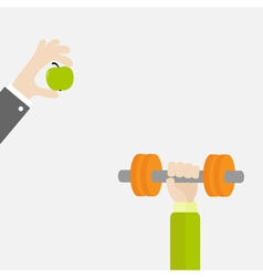Hands holding dumbell and apple Sport Fitness vector image