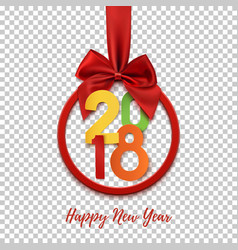 happy new year 2018 round banner with red ribbon vector image