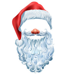 hat beard and red nose mask santa claus vector image vector image