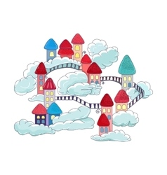 House in clouds vector