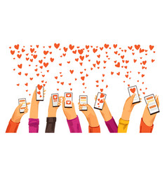 Human hands rised up with smartphone dating app vector
