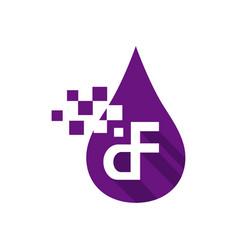 initial d f letter logo design with digitalsign vector image