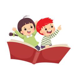 Kids flying on book vector