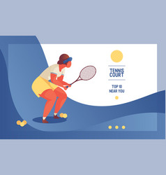 landing page for tennise court or club oversized vector image
