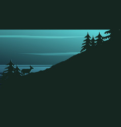 landscape background with dark silhouettes vector image