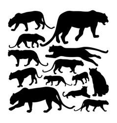 leopard predator animal silhouettes vector image
