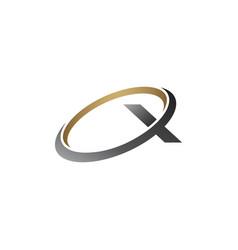 letter x logo round silver gold logo design vector image