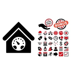 Meter Building Flat Icon with Bonus vector