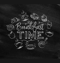 monogram breakfast time chalk vector image