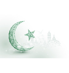 Moon star islam religion form lines and particle vector