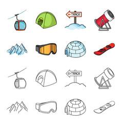 Mountains goggles an igloo a snowboard ski vector
