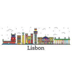 outline lisbon portugal city skyline with color vector image