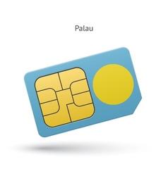 Palau mobile phone sim card with flag vector image