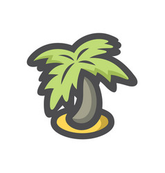 palm tree island icon cartoon vector image