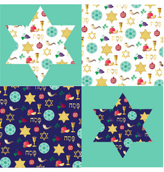 passover background patterns and stars with gold vector image