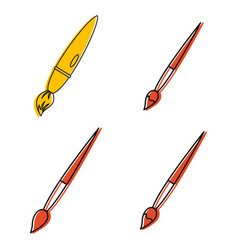 pencil icon set color outline style vector image