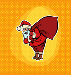 santa claus with a bag gifts comic cartoon pop vector image