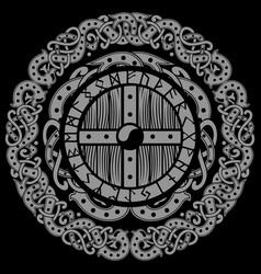 scandinavian viking design viking shield with vector image