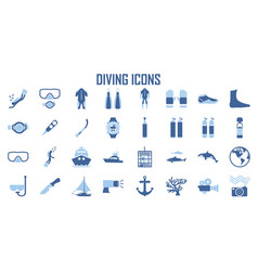 scuba diving snorkeling elements - minimal flat vector image