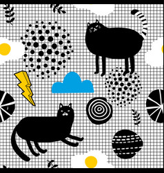 seamles wallpaper in scandinavian style with black vector image