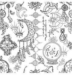 Seamless pattern with magic objects vector