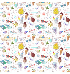 seamless pattern with summer doodle sketch vector image