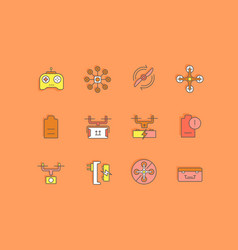set simple line icons drone vector image