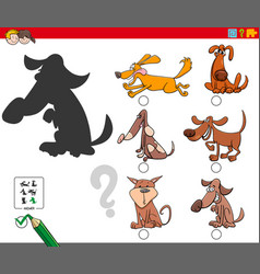 shadows game with cartoon dog characters vector image