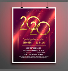 Shiny 2020 glowing flyer template for party event vector