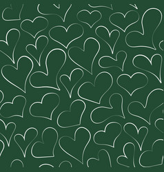 sketched outline chalk heart seamless pattern vector image