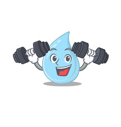 Smiling fitness exercise raindrop lift up barbells vector