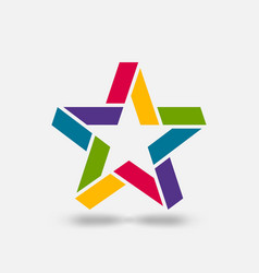 star ribbon symbol in rainbow colors vector image