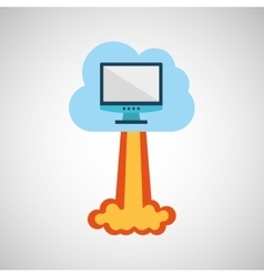 Start up business computer cloud graphic isolated vector