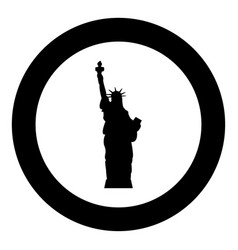 Statue of liberty icon black color in circle vector