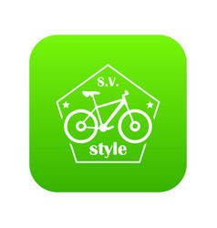 Sv bike style icon green vector