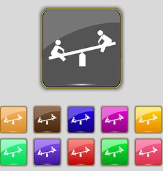 swing icon sign Set with eleven colored buttons vector image