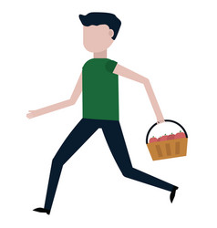 the guy is carrying a basket of apples vector image