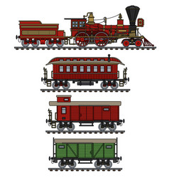 The vintage american steam train vector