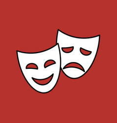 theater masks linear icon on red background vector image