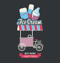 Tray on wheels for ice cream sales vector