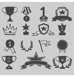 Trophy and awards icons hand draw vector image