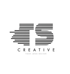 ts t s zebra letter logo design with black and vector image