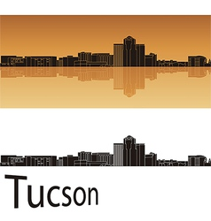 Tucson skyline in orange background vector