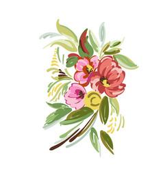 Vintage bouquet flowers vector