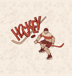 vintage hockey sportsman and seamless pattern vector image