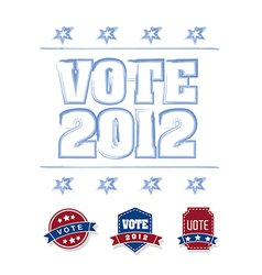 Vote 2012 with blue and red tags over white vector