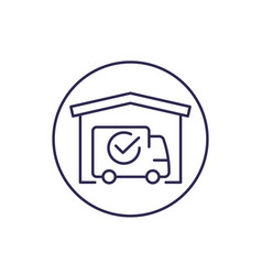 Warehouse and van delivery completed line icon vector