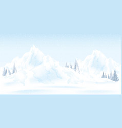 Watercolor of winter mountains landscape with vector